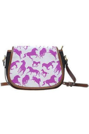 Horse themed Canvas/PU Leather Saddle Bag Handbag-Saddle Bag-Pillow Profits-7-Three Wild Horses