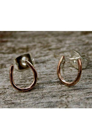 Horseshoe Talisman Earrings-Jewelry-JenCervelli-Copper/silver studs-Three Wild Horses