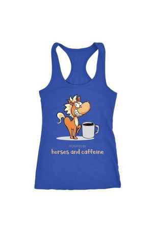Horses and Caffeine - Tops-Tops-teelaunch-Racerback Tank-Blue-S-Three Wild Horses