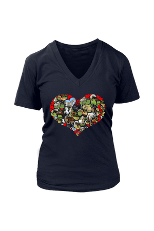 Heart Shape Horses - Tops-Tops-teelaunch-Womens V-Neck-Navy-S-Three Wild Horses