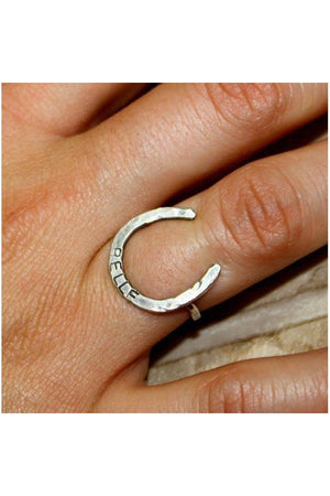 Personalized Thin Horseshoe Ring-Jewelry-JenCervelli-STERLING SILVER-YES-4-Three Wild Horses