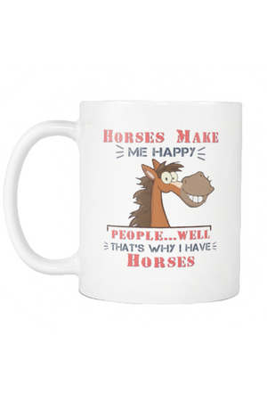 Horses Make Me Happy - Mug-Drinkware-teelaunch-COFFEE MUG 11 OZ-Three Wild Horses