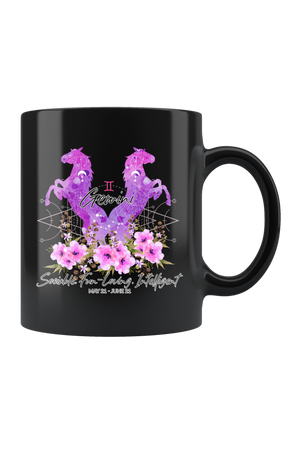 Gemini Zodiac Horses Black Mug-Drinkware-teelaunch-Gemini Purple Horse Black Mug-Three Wild Horses
