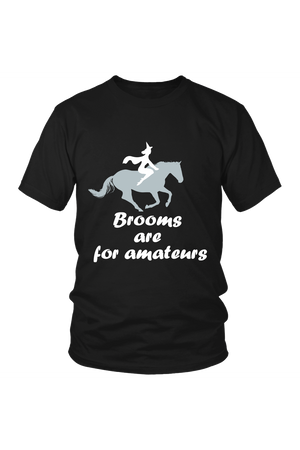 Brooms Are For Amateurs - Tops-Tops-teelaunch-Unisex Tee-Black-S-Three Wild Horses