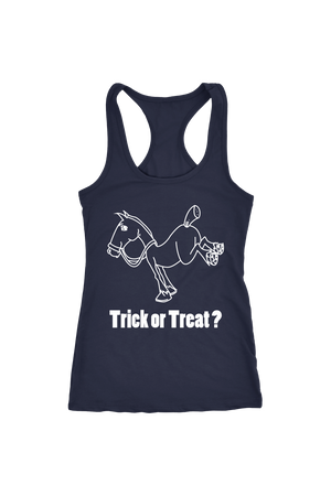 Trick Or Treat? - Tops-Tops-teelaunch-Racerback Tank-Navy-S-Three Wild Horses