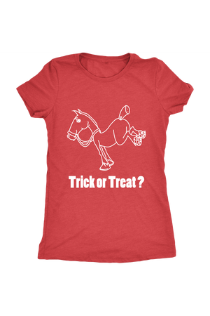 Trick Or Treat? - Tops-Tops-teelaunch-Ladies Triblend-Red-S-Three Wild Horses