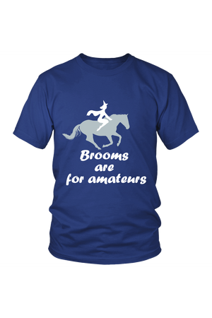 Brooms Are For Amateurs - Tops-Tops-teelaunch-Unisex Tee-Royal Blue-S-Three Wild Horses