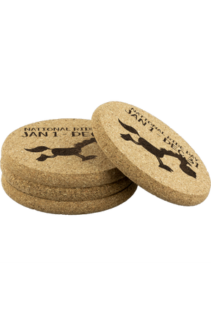Round Cork Coasters - National Ride Day-Coasters-teelaunch-4pcs Set-Three Wild Horses