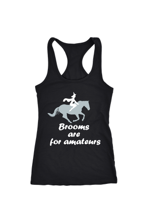 Brooms Are For Amateurs - Tops-Tops-teelaunch-Racerback Tank-Black-S-Three Wild Horses