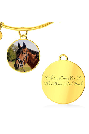 Upload my photo - Bangle-Jewelry-ShineOn Fulfillment-Circle Pendant Gold Bangle-Yes-Three Wild Horses