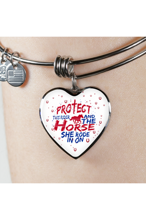 Protect the Rider and Horse - Heart Necklace or Bangle-Jewelry-ShineOn Fulfillment-Luxury Necklace (Silver)-No-Three Wild Horses