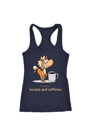 Horses and Caffeine - Tops-Tops-teelaunch-Racerback Tank-Navy-S-Three Wild Horses