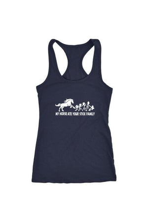 My Horse Ate Your Stick Family - Tops-Tops-teelaunch-Racerback Tank-Navy-S-Three Wild Horses