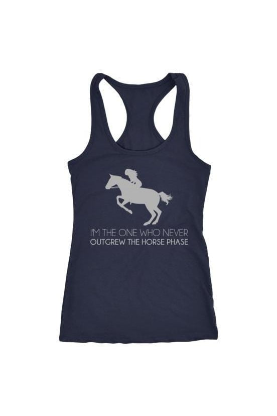 I Never Outgrew the Horse Phase - Tops-Tops-teelaunch-Racerback Tank-Navy-S-Three Wild Horses