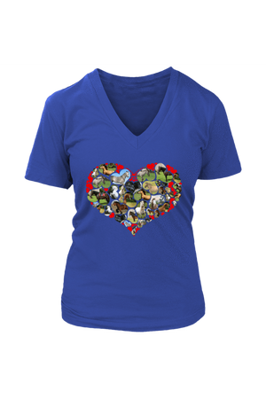 Heart Shape Horses - Tops-Tops-teelaunch-Womens V-Neck-Royal Blue-S-Three Wild Horses