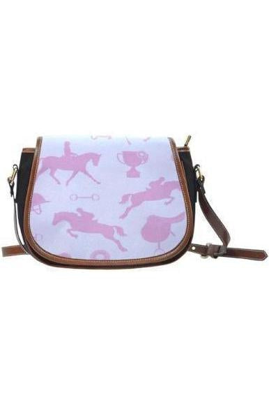 Horse themed Canvas/PU Leather Saddle Bag Handbag