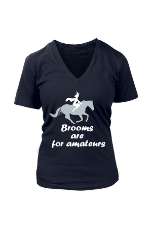 Brooms Are For Amateurs - Tops-Tops-teelaunch-Womens V-Neck-Navy-S-Three Wild Horses