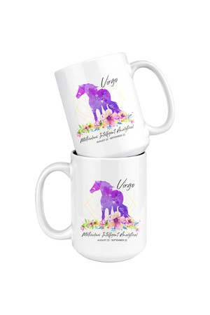 Virgo Zodiac Horse Coffee Mug-Drinkware-teelaunch-Virgo Purple Horse Coffee Mug-Three Wild Horses