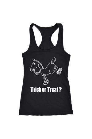 Trick Or Treat? - Tops-Tops-teelaunch-Racerback Tank-Black-S-Three Wild Horses