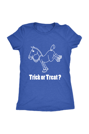 Trick Or Treat? - Tops-Tops-teelaunch-Ladies Triblend-Royal Blue-S-Three Wild Horses
