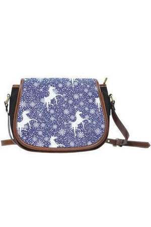Horse themed Canvas/PU Leather Saddle Bag Handbag-Saddle Bag-Pillow Profits-9-Three Wild Horses