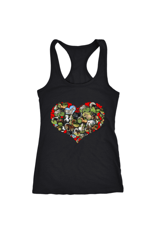 Heart Shape Horses - Tops-Tops-teelaunch-Racerback Tank-Black-S-Three Wild Horses