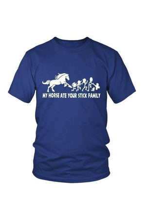 My Horse Ate Your Stick Family - Tops-Tops-teelaunch-Unisex Tee-Royal Blue-S-Three Wild Horses