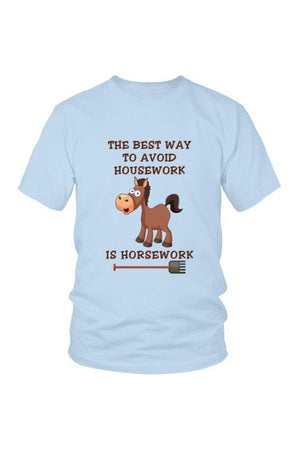 The Best Way To Avoid Housework - Tops-Tops-teelaunch-Unisex Tee-Blue-S-Three Wild Horses