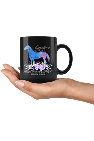 Capricorn Zodiac Horse Black Mug-Drinkware-teelaunch-Capricorn Blue Horse Black Mug-Three Wild Horses