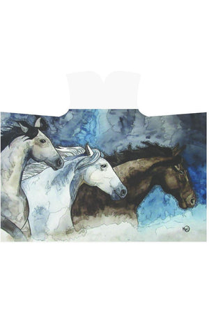 Three Wild Horses Hooded Blanket-Hooded Blankets-interestprint-One Size-Three Wild Horses