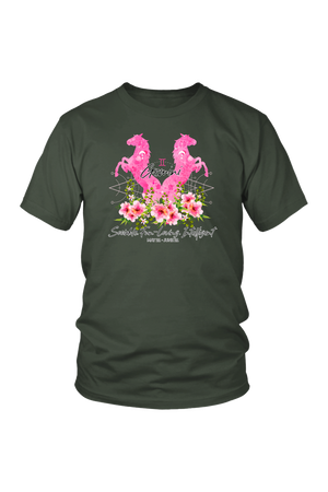 Gemini Horse Unisex Shirt-T-shirt-teelaunch-District Unisex Shirt-Olive-S-Three Wild Horses