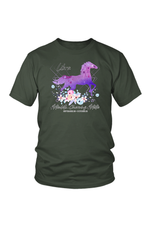 Libra Horse Unisex Shirt-T-shirt-teelaunch-District Unisex Shirt-Olive-S-Three Wild Horses