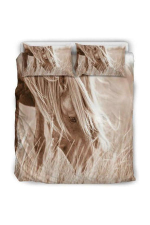 Horse Print Bedding Set-Beddings-Pillow Profits-Black-Queen/Full-Three Wild Horses