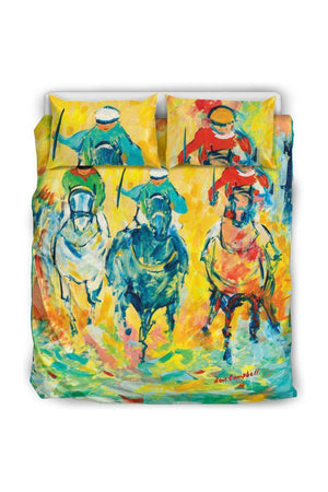 Horse Racing Bedding Set-Beddings-Pillow Profits-Black-Queen/Full-Three Wild Horses