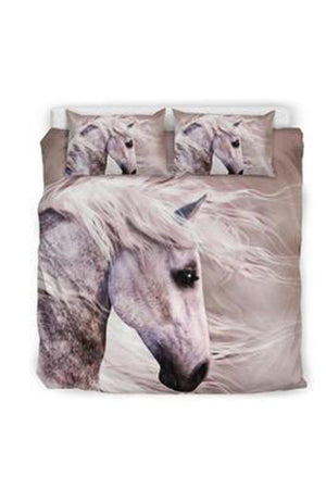 Gray Blowing Wind Horse Bedding Set