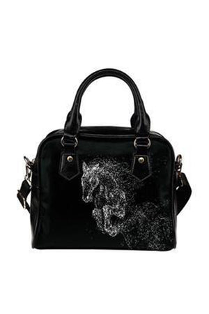Black Horse Sketch Shoulder Handbag