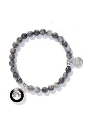 Gray Black Labradorite Custom Moon Phase Bead Bracelet