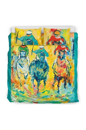 Goldenrod Horse Racing Bedding Set