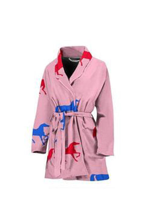 Light Pink Horse Print Women's Bath Robe