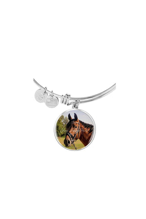 Upload my photo - Bangle-Jewelry-ShineOn Fulfillment-Circle Pendant Silver Bangle-No-Three Wild Horses