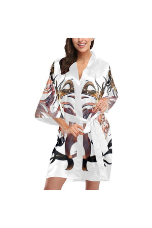 Steel Steed Swirl Horse Women's Short Kimono Robe-Kimono Robe-interestprint-XS-Three Wild Horses