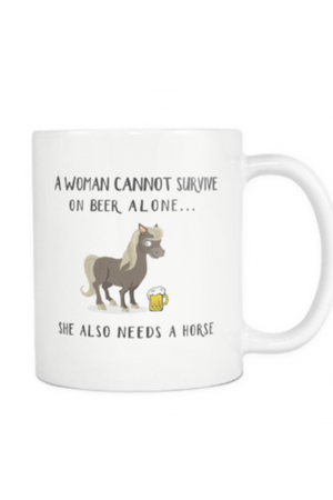 Beer Mug - She Also Needs a Horse-Drinkware-teelaunch-COFFEE MUG 11 OZ-Three Wild Horses