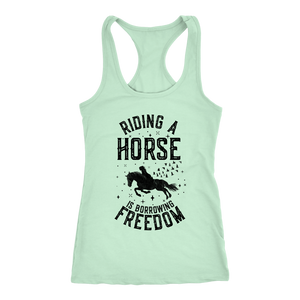 Light Gray Riding A Horse is Borrowing Freedom T-Shirt