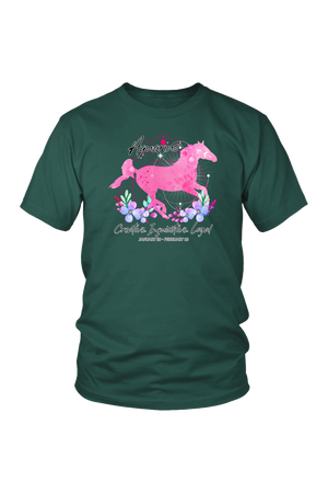 Aquarius Zodiac Horse Unisex Shirt-T-shirt-teelaunch-District Unisex Shirt-Dark Green-S-Three Wild Horses