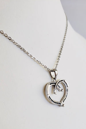 Dark Gray Heart Shaped Horseshoe Necklace SIlver