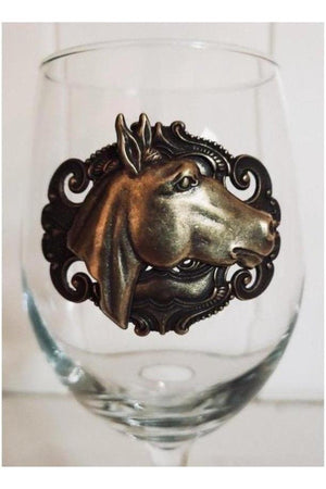 Vintage Style Wine Glass With Horse-Drinkware-Three Wild Horses-Three Wild Horses