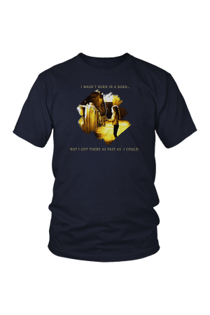 I Was Not Born In The Barn Tops-T-shirt-teelaunch-Unisex Tee-Navy-S-Three Wild Horses