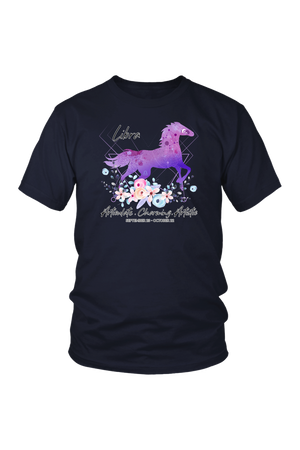Libra Horse Unisex Shirt-T-shirt-teelaunch-District Unisex Shirt-Navy-S-Three Wild Horses