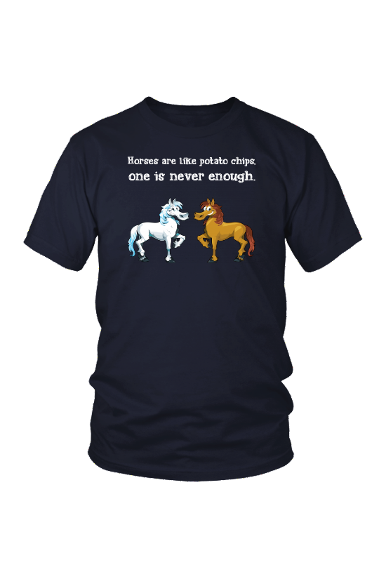 Horses Are Like Potato Chips - Tops-Tops-teelaunch-Unisex Tee-Navy-S-Three Wild Horses