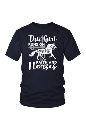 Black This Girl Runs on Faith & Horses T-Shirt